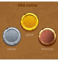 Gold silver and bronze old coins vector