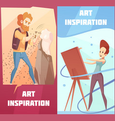 Art inspiration cartoon banners set vector
