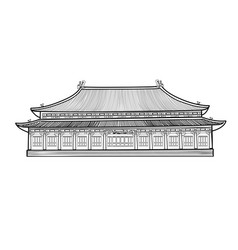 Asian chinese pavilion buidling house in asian vector