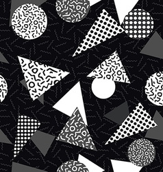 Black and white retro pattern with geometric shape vector