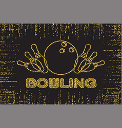 Bowling pins gold color lights silhouette on dark vector