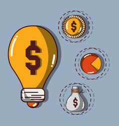 Bulb with coin and statistics with bag vector