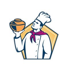 Chef cook holding pot retro vector
