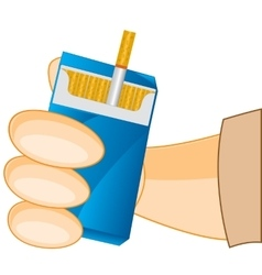 Cigarette pack in hand vector