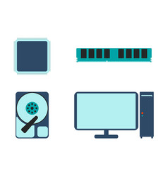 Cpu ram hdd and computer icon vector