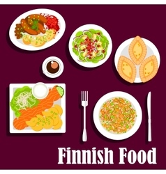 Fish and meat dishes of finnish cuisine flat icon vector