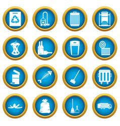 Garbage thing icons blue circle set vector