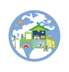 green house save the planet vector image
