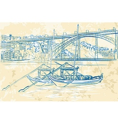 Hand Drawn Sketch of Boats Docked vector image