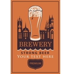 label beer with glass vector image vector image