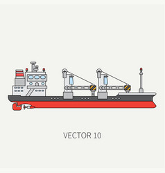 line flat color icon container cargo ship vector image vector image