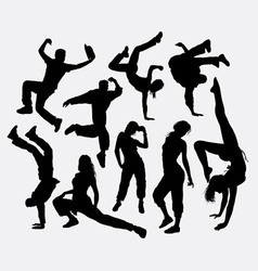 Male and female party dancing pose silhouette vector