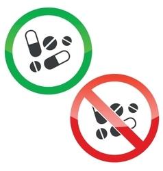 Medicine permission signs set vector