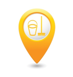 Mop and busket map pointer yellow vector