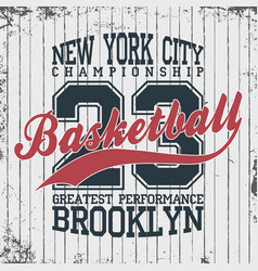 new york basketball sportswear emblem basketball vector image vector image