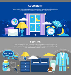 Night bedtime 2 flat banners vector