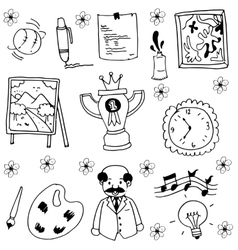 Object school doodles with hand draw vector