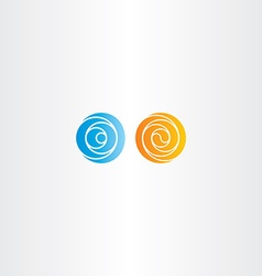 Orange and blue spiral circle abstract logo vector