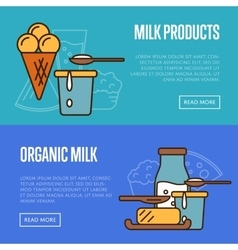 Organic products horizontal website templates vector