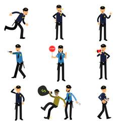 Policeman characters at work set policemen doing vector