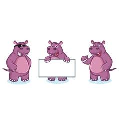 Purple Hippo Mascot happy vector image