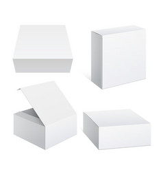 Realistic white package cardboard box set vector