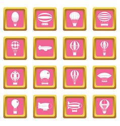 retro balloons aircraft icons pink vector image