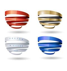 set of spiral ribbons vector image