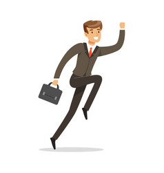 Smiling successful businessman jumping with his vector