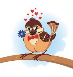 sparrow in love vector image vector image