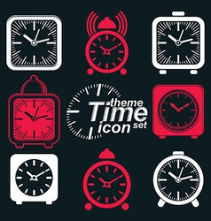 Squared 3d alarm clocks vector