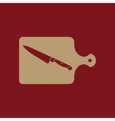 The cutting board and knife icon chef and vector