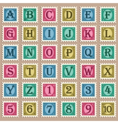 Vintage alphabet stamps vector