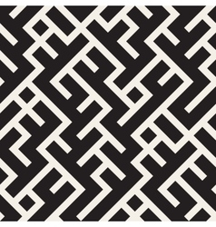 Seamless black and white maze lines pattern vector