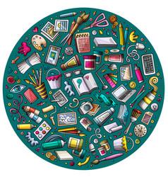 Set of designer cartoon doodle objects symbols vector