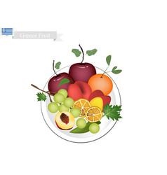 olive apple assyrtiko grapes orange and peaches vector image