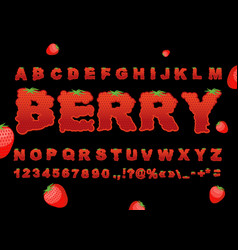 Berry font strawberry abc red fresh fruit vector