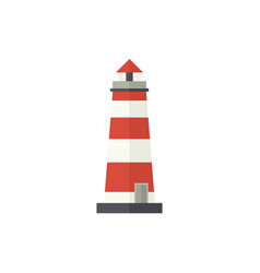 Flat cartoon classic red and white lighthouse vector