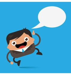 Happy business man with speech bubble vector