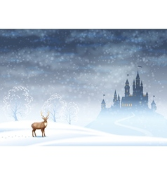 Christmas landscape winter castle vector