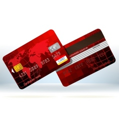 Red credit cards front and back eps 8 vector