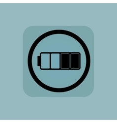 Pale blue half battery sign vector