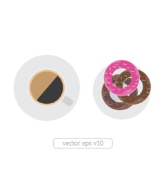 Coffee cup and donuts flat vector