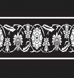 Black and white vintage border floral seamless vector