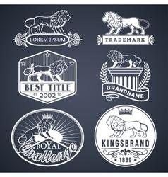 Lion labels white vector image