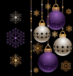 Violet and golden christmas decoration vector