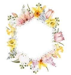 Watercolor spring floral frame vector