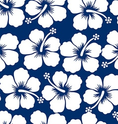 Graphic white tropical hibiscus flowers seamless vector