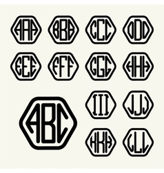 Set 1 template create monogram three letters vector