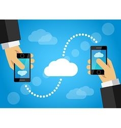 Mobile phone data sharing internet cloud vector